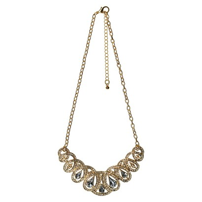"Women's Necklace with Looped Design Frontal - Gold/Clear (16 1/2"")"