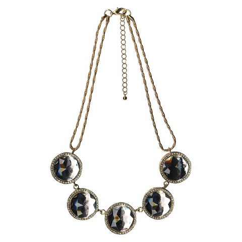 """Women's 2 Row Necklace with Large Round Stone Stations - Gold/Clear (18"""")"""