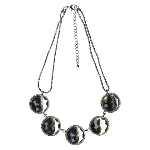 """Women's 2 Row Necklace with Large Round Stone Stations - Silver/Clear (18"""")"""