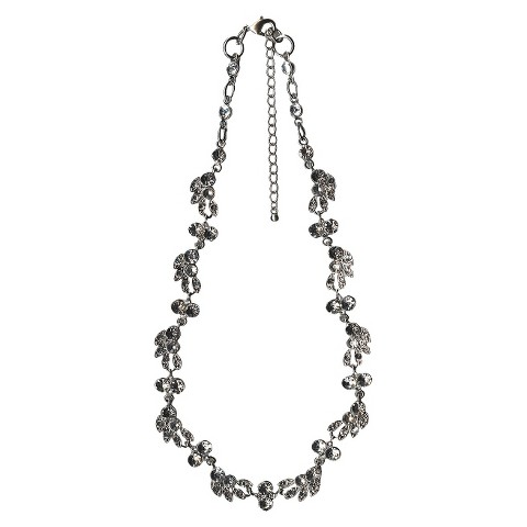"""Women's Necklace with Multiple Shaped Stones - Silver/Clear (19"""")"""