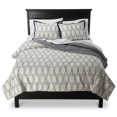 Diamond Lattice Comforter Set (Full/Queen) White&Blue 3pc - Threshold™