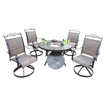 Stone 5-Piece Aluminum Patio Conversation Furniture Set