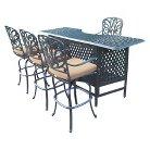 Hampton 5-Piece Aluminum Patio Bar Dining Furniture Set