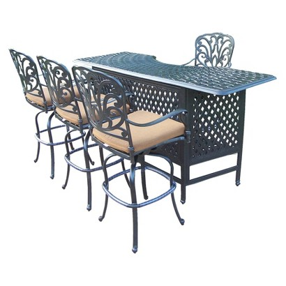 Hampton 5-Piece Aluminum Patio Bar Dining Furniture Set