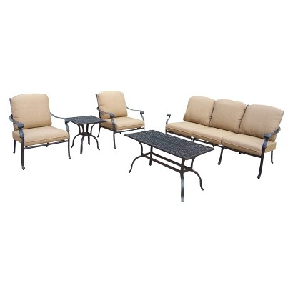 Hampton 5-Piece Aluminum Patio Conversation Furniture Set