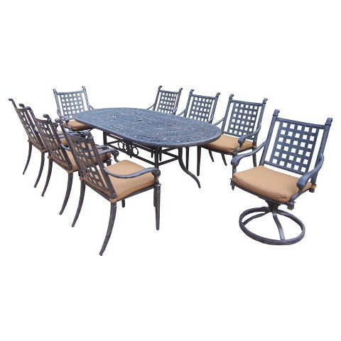 Rosemont 9-Piece Aluminum Oval Patio Dining Furniture Set