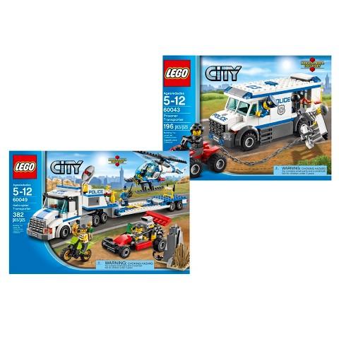 LEGO City Prisoner Transporter and Helicopter Transporter Bundle