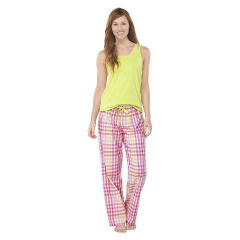 Hanes® Premium Women's PJ Set - Lime Plaid