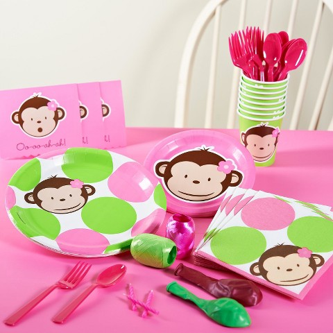 Mod Monkey Pink Birthday Party Pack