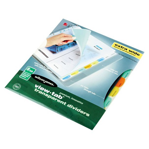 Wilson Jones® View Tab Transparent Index Dividers With 8 Tab - (2 Per Pack)
