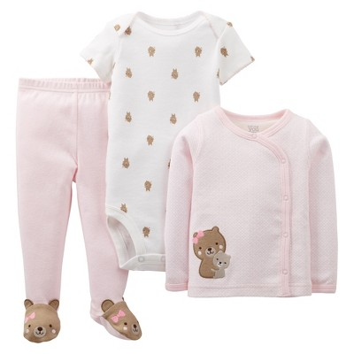 Just One You™Made by Carter's® Newborn Girls' 3 Piece Bear Layette Set - Pink Preemie