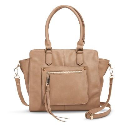 Moda Luxe Solid Satchel Handbag with Removable Crossbody Strap