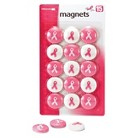 Officemate Breast Cancer Awareness Magnets - Pink/White (15 Per Pack)