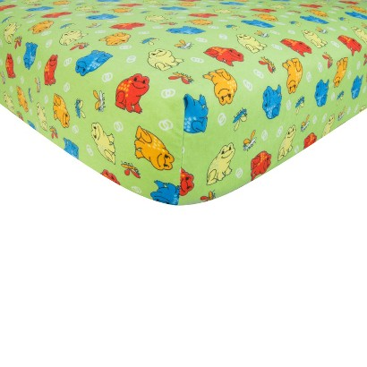 Frog Flannel Fitted Crib Sheet
