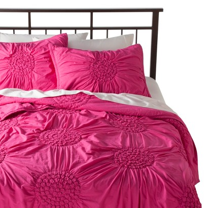 Boho Boutique Rosette Quilt Set - Pink (Full/Queen)