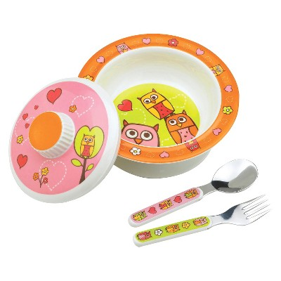 SugarBooger Covered Suction Bowl and Utensil Set - Hoot