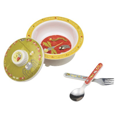 SugarBooger Covered Suction Bowl and Utensil Set - Icky Bugs