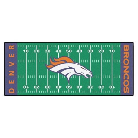 Denver Broncos Fanmats Football Field Runner Rug Multicolor