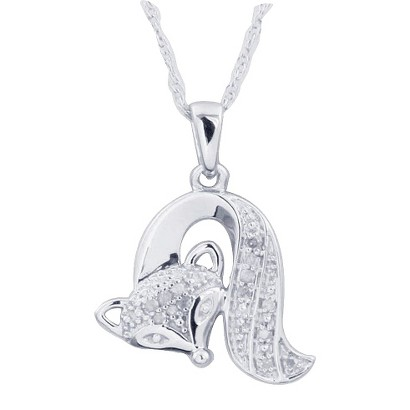 0.05 CT.T.W. Diamond Fox Animal Pendant in Sterling Silver