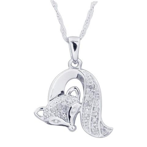 0.05 CT.T.W. Diamond Fox Animal Pendant in Sterling Silver