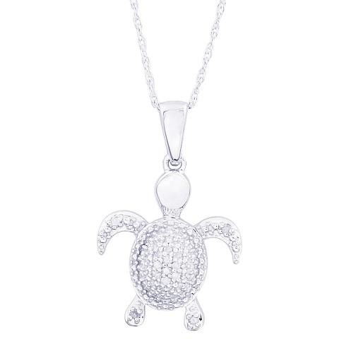 0.05 CT.T.W. Diamond Turtle Pendant in Sterling Silver