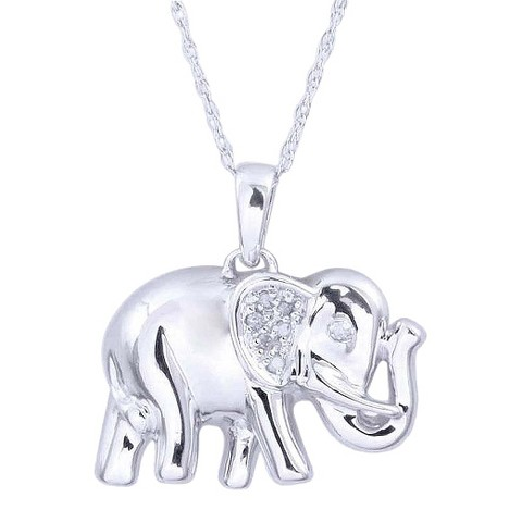 0.03 CT.T.W. Diamond Elephant Animal Pendant in Sterling Silver