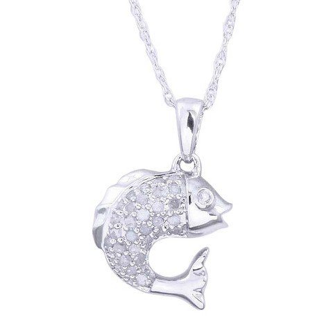 0.03 CT.T.W. Diamond Fish Pendant in Sterling Silver