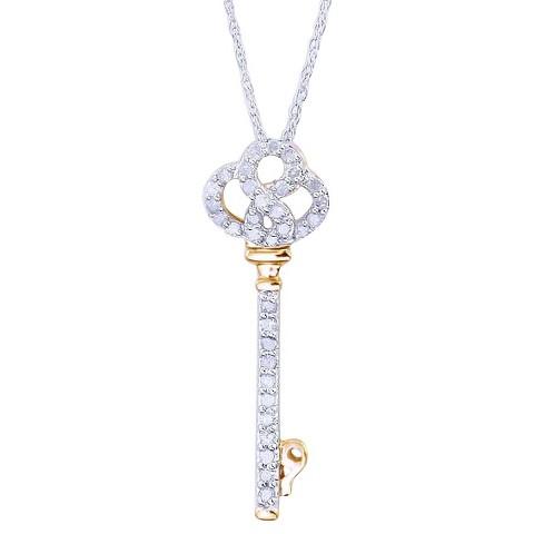0.25 CT.T.W. Diamond Key Pendant in Sterling Silver