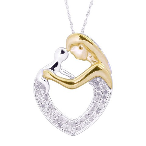 0.25 CT.T.W. Diamond Mother and Child Heart Pendant in Sterling Silver