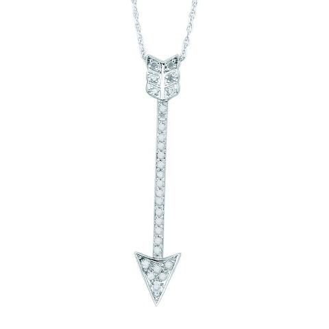 0.25 CT.T.W. Diamond Arrow Pendant in Sterling Silver