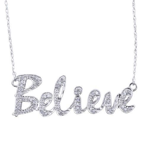 0.12 CT.T.W. Diamond Believe Script Necklace in Sterling Silver