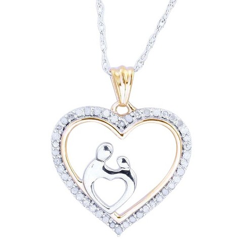 0.15 CT.T.W. Diamond Mom and Child in Heart Pendant in Sterling Silver