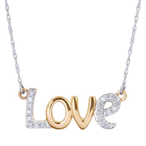 0.15 CT.T.W. Diamond Love Script Two Tone Necklace in Sterling Silver
