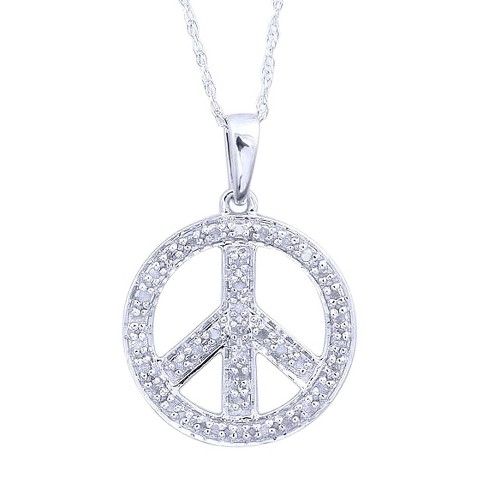 0.12 CT.T.W. Diamond Peace Circle Pendant in Sterling Silver
