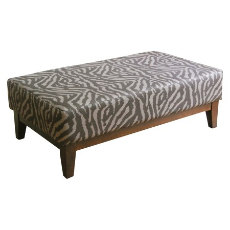 Large Tonal Animal Print Cocktail Bench Brown Homepop: leopard print bench