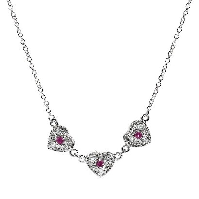 Tressa Collection Sterling Silver Cubic Zirconia Heart Necklace - Red