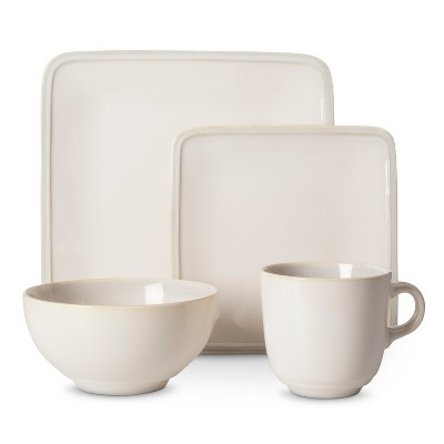 Threshold™ Square Glazed 16 piece Dinnerware Set - Cream
