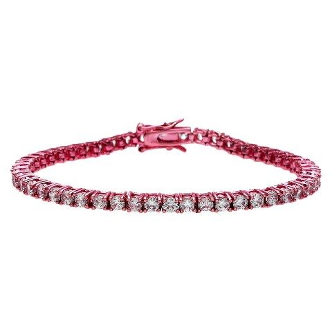 Pink Plated Cubic Zirconia Tennis Bracelet - Pink