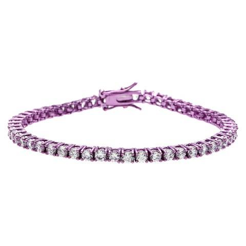 Purple Plated Cubic Zirconia Tennis Bracelet - Purple
