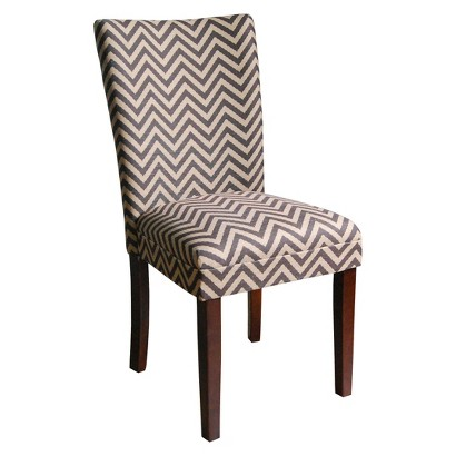 Kinfine Parsons Chair with Mid-Tone Wood - Brown/Tan Chevron(Set of 2)