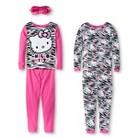 Hello Kitty Girls' 4-Piece Long Sleeve Pajama Set w/ Eyemask