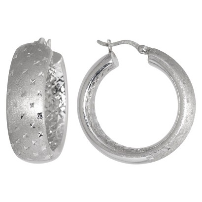 Sterling Silver Matte Finish with Diamond Cut Wide Hoop Earrings