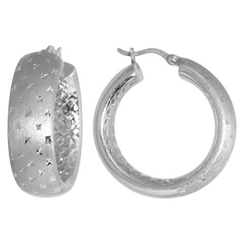 Sterling Silver Matte Finish with Diamond Cut Wide Hoop Earrings