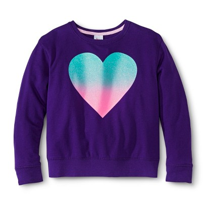 Girls' Glitter Heart Sweatshirt