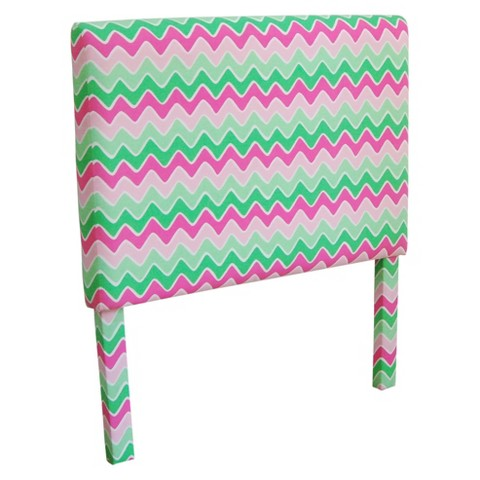 Kinfine Zig Zag Kids Headboard - Pink/Green (Twin)