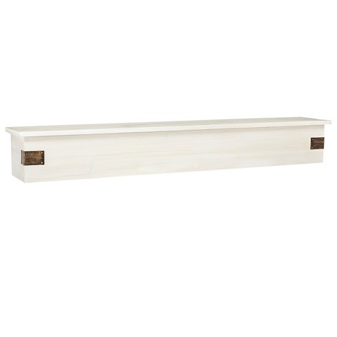 "BP Industries 36"" Weathered Wall Shelf with Decorative Hardware"