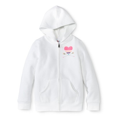 Girls' Zip-Up Hoodie -  White