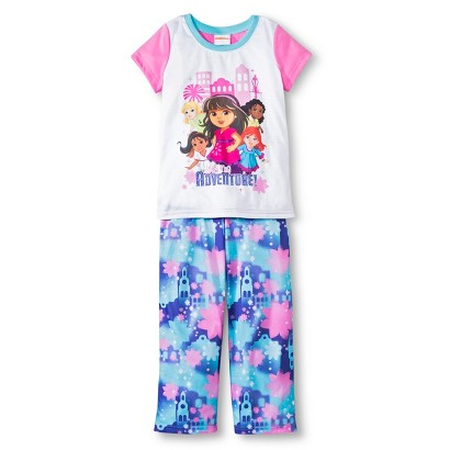 Dora the Explorer Girls' Short Sleeve 2-Piece Pajama Set