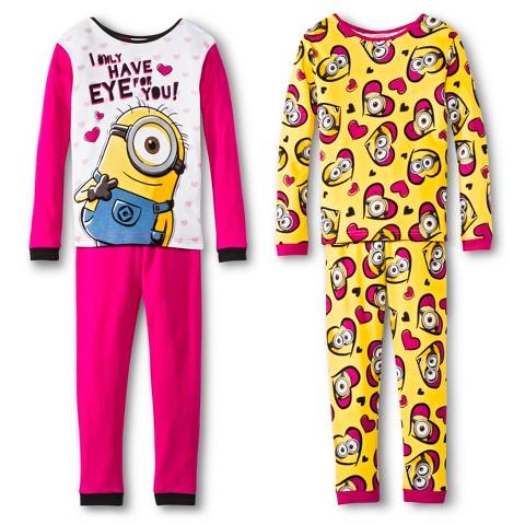 Girls' Despicable Me Minions 4-Piece Mix & Match Pajama Set