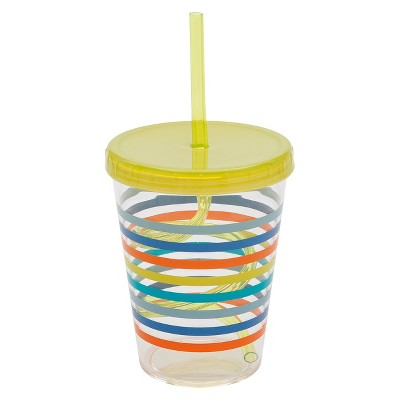 Swirly Straw Cup-Big Boy, Weight: 110g, Finish: clear+5 color silk screen+tinted straw+tinted lid